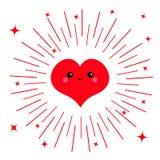 Красный значок головы стороны сердца Характер милого kawaii шаржа смешной усмехаясь Глаза, рот, краснеют щека Круглая линия сияющ Стоковая Фотография RF