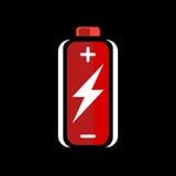 Красный значок обязанности батареи AA знак обязанности батареи символ обязанности батареи Батарея на черной предпосылке Стоковые Фотографии RF