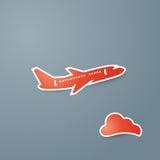 Красный значок самолета и облака на серой предпосылке vector иллюстрация Стоковое Изображение