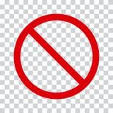 Красный значок стопа на прозрачной предпосылке Отсутствие символа r бесплатная иллюстрация