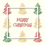 Красный золотой зеленый цвет покрасил дерево xmas, поздравительную открытку рождества стоковое фото
