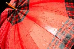 красный зонтик влажный Стоковое фото RF