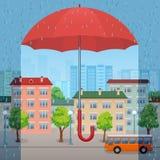 Красный зонтик над городом Стоковое Изображение