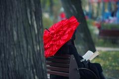 Красный зонтик чтения Стоковая Фотография RF