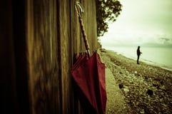 красный зонтик Стоковые Фото