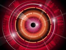 Красный зрачок с предпосылкой бинарного кода технологии Стоковые Изображения