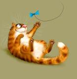 Красный играть кота иллюстрация вектора
