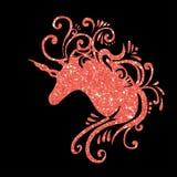Красный дизайн единорога зажима искусства единорога clipart единорога силуэта единорогов яркого блеска единорога фантазии вектора бесплатная иллюстрация