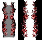 Красный дизайн печати лилий для платья Стоковое Изображение RF