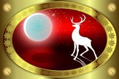 Красный дизайн рождества с рамкой золота Стоковое фото RF