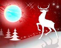 Красный дизайн рождества с северным оленем Стоковая Фотография RF