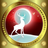 Красный дизайн рождества с северным оленем Стоковое Фото