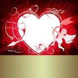 Красный дизайн с сердцами Стоковая Фотография