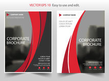 Красный дизайн шаблона рогульки листовки годового отчета брошюры вектора кривой, дизайн плана обложки книги, абстрактное представ иллюстрация штока