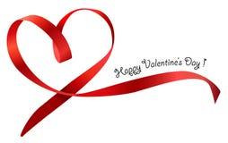 Красный изолированный смычок ленты сердца. Вектор Стоковое Изображение