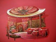 Красный индийский интерьер спальни стиля иллюстрация штока