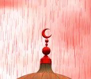 Красный исламский символ на куполке мечети в кровопролитном дожде Стоковые Фото