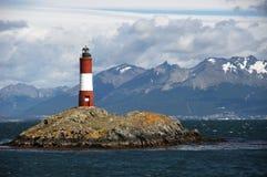 Красный и белый маяк Стоковая Фотография