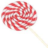 Красный и белый спиральный леденец на палочке иллюстрация штока