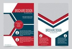 Красный и голубой дизайн рогульки шаблона брошюры иллюстрация вектора