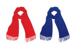 Красный и голубой шарф иллюстрация штока