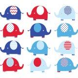Красный и голубой милый комплект слона Стоковые Изображения