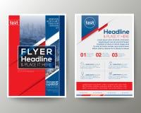 Красный и голубой шаблон вектора плана дизайна рогульки брошюры плаката Стоковое Изображение