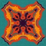 Красный и желтый орнамент мандалы над предпосылкой симметрии безшовной Декоративный круглый орнамент для крася анти--стресса иллюстрация штока