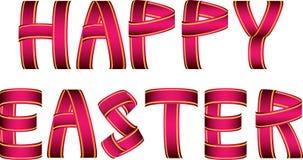 Красный и желтый счастливый текст ленты пасхи Стоковая Фотография