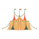 Красный и желтый Stripy шатер цирка, часть парка атракционов и справедливая серия плоских иллюстраций шаржа иллюстрация штока
