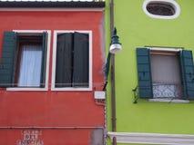 Красный и зеленый - Burano Стоковые Фотографии RF