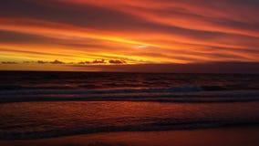 Красный и золотой заход солнца Стоковая Фотография