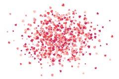 Красный и розовый бумажный confetti вектора формы сердца изолированный на белизне бесплатная иллюстрация