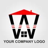 Красный и черный вектор логотипа дома и компании установил письмо w дизайна стоковое изображение