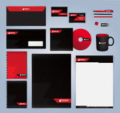 Красный и черный современный шаблон дизайна фирменного стиля Стоковое фото RF