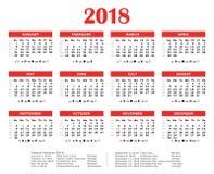 Красный каждогодный календарь 2018 Стоковые Фото
