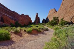 Красный каменный ландшафт пустыни с следом Стоковая Фотография RF