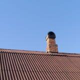 Красный камин, красная крыша стоковое фото rf