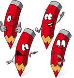 Красный карандаш - смешной шарж вектора Стоковые Изображения