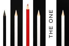 Красный карандаш стоя вне от толпы черно-белых собратьев на предпосылке нашивки bw концепция успеха в бизнесе uniq руководства Стоковые Фото