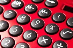 Красный калькулятор, конец вверх Стоковое Изображение