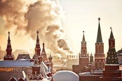 Красный квадрат и Кремль во время дня зимы морозного Стоковое Изображение RF