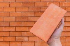 Красный кирпич для кирпича конструкции с владением руки Стоковое Фото