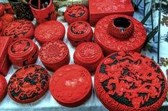 Красный китайский керамический блошинный Пекин Китай Panjuan баков стоковое изображение