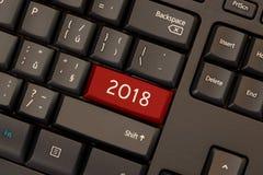 Красный ключ 2018 на клавиатуре Стоковое Фото