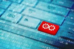 Красный ключ с временем символ значка денег на голубой цифровой клавиатуре стоковое изображение