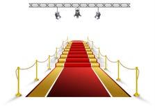 Красный ковер для наград и церемоний в репроекторе Стоковое фото RF