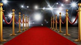 Красный ковер и бархат ropes на предпосылке торжественной ночи иллюстрация 3d иллюстрация вектора
