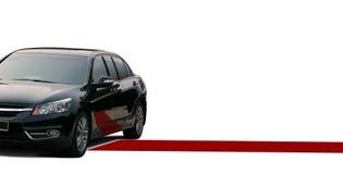 Красный ковер и черный лимузин Стоковое Изображение