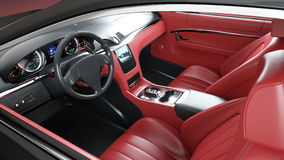Красный кожаный интерьер роскошной черной спортивной машины Реалистический перевод 3d Стоковые Фотографии RF